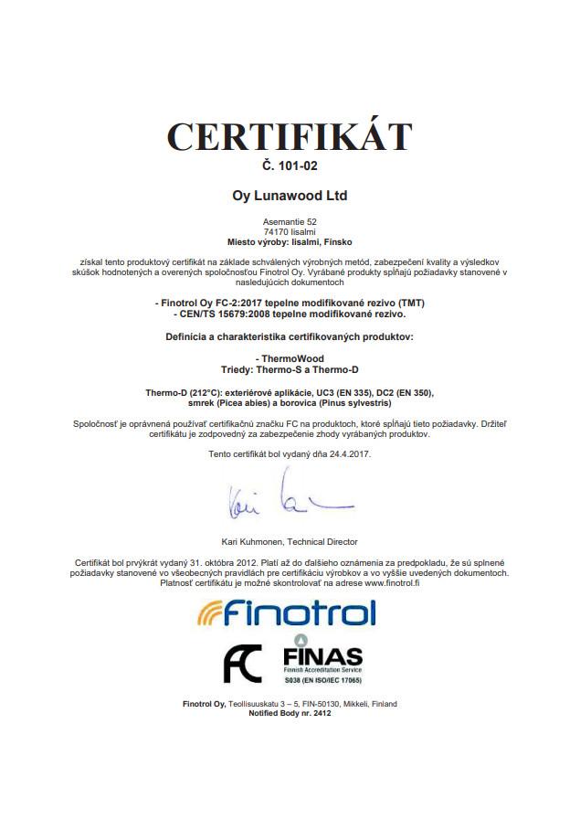 Certifikát FINOTROL kontrola výrobního procesu tepelně upraveného dřeva ThermoWood®