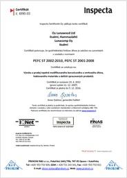 Certifikát INSPECTA garance původu suroviny pro tepelně upravené dřevo ThermoWood®