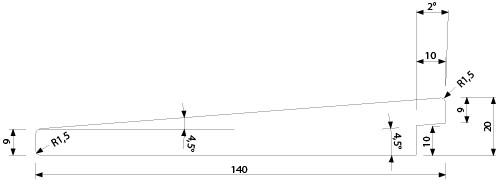 UYL 20x140 mm - vnější, venkovní, exteriérový, fasádní obklad (profil)