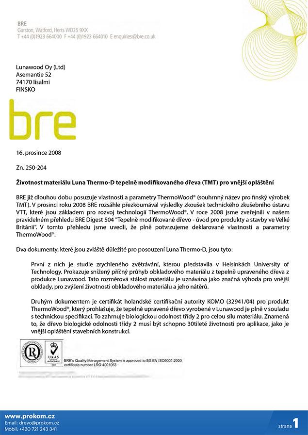 Certifikát BRE tepelně upravené dřevo ThermoWood®