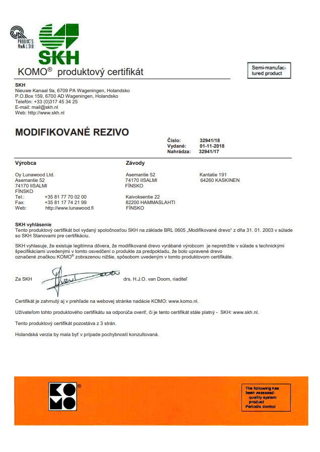 Certifikát KOMO biologická odolnost tepelně upravené dřevo ThermoWood®