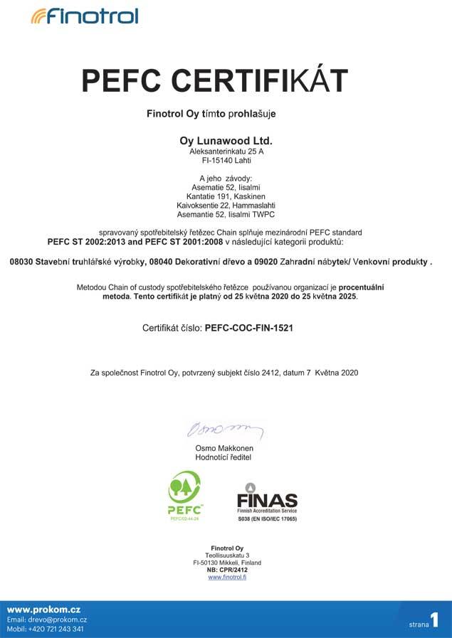 Certifikát PEFC doložení původu dřeva z obnovitelných zdrojů pro tepelně upravené dřevo ThermoWood®