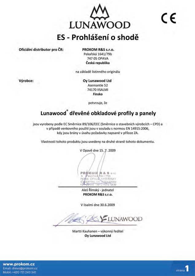 ES prohlášení o shodě tepelně upravené dřevo ThermoWood®